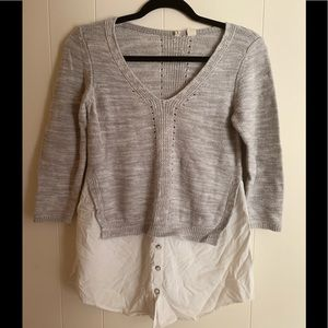 Moth gray top with white underlay